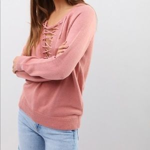 Sweaters - Pink Lace Up Sweater